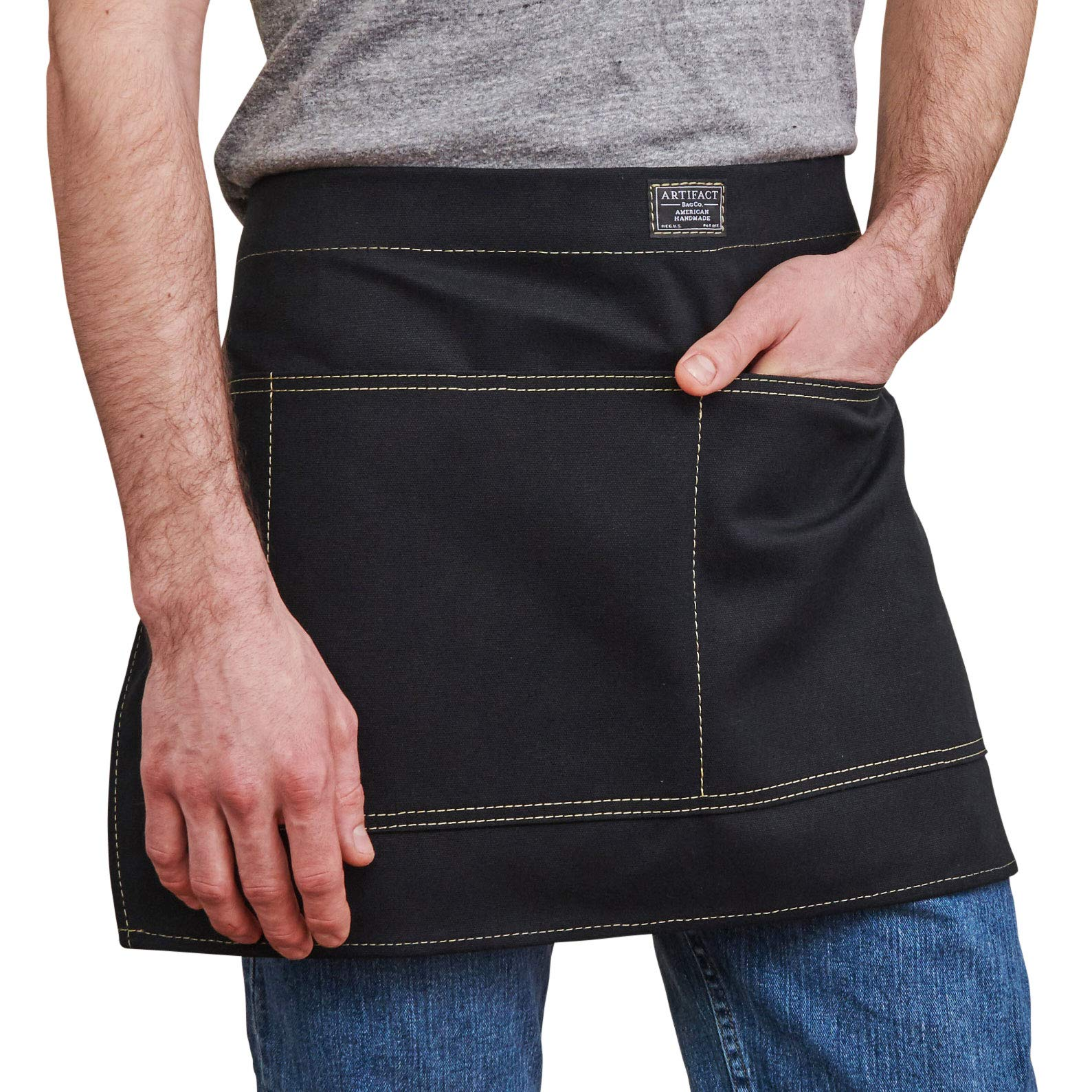 CDM product Artifact Unisex Artisan Canvas Waist Apron - Made in Omaha (Black) small thumbnail image