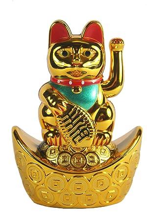 Gato chino de la suerte con brazo en movimiento, 10 cm ...