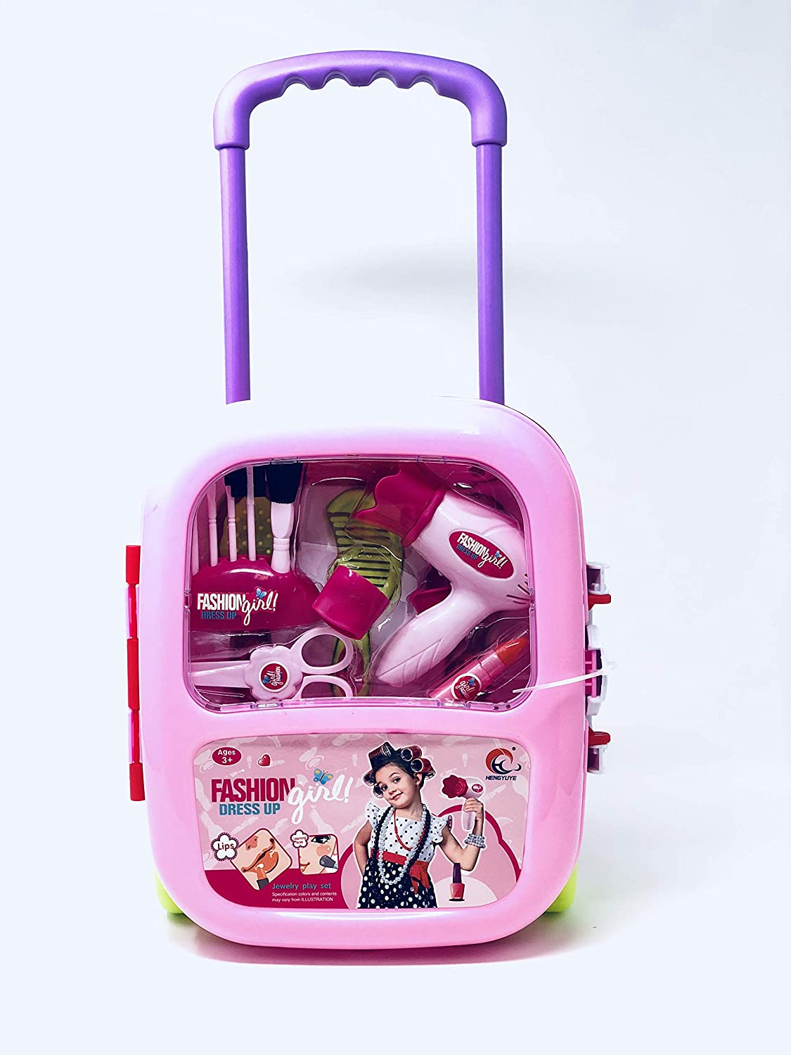 JOYSAE Fashion Dress up Girls Beauty Salon Play Trolley case Set with Hairdryer, Curling Iron, Comb,ScissorsMirror & Cosmetics Utensils