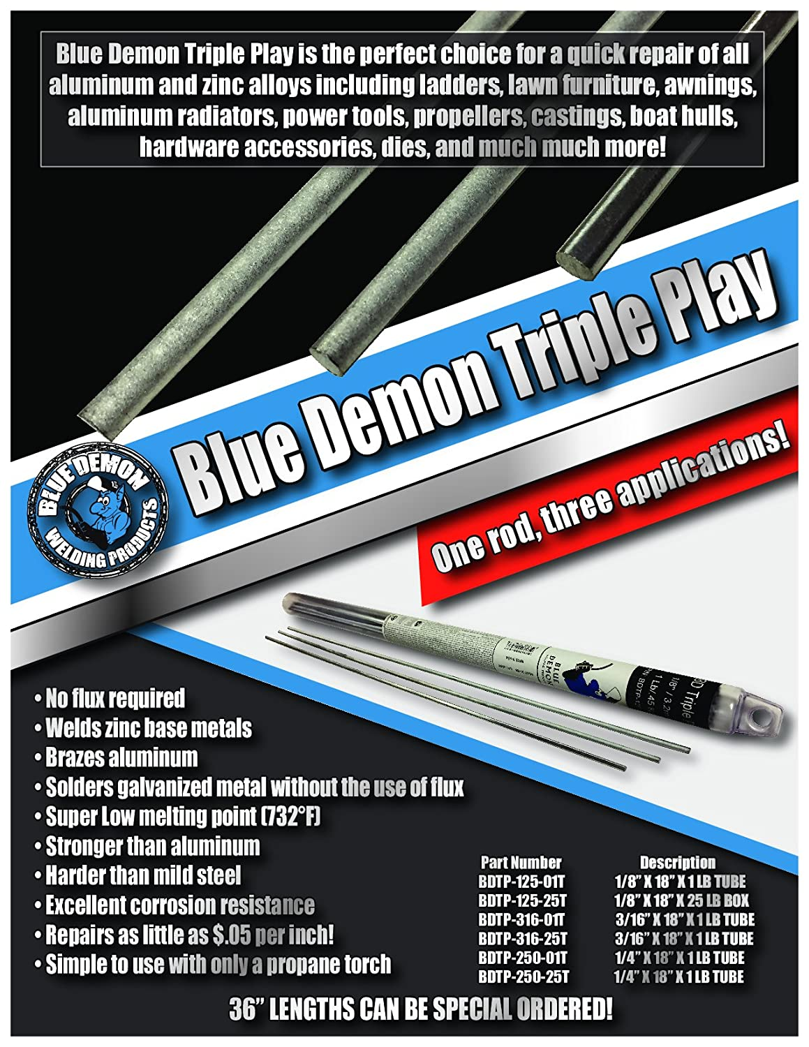 Blue Demon Bdtp 125 01t Triple Play Low Temp Aluminum Zinc Brazing Components Together With And Variety Of Arc Gas Welding Rod 1 8 X 18 Lb Tube