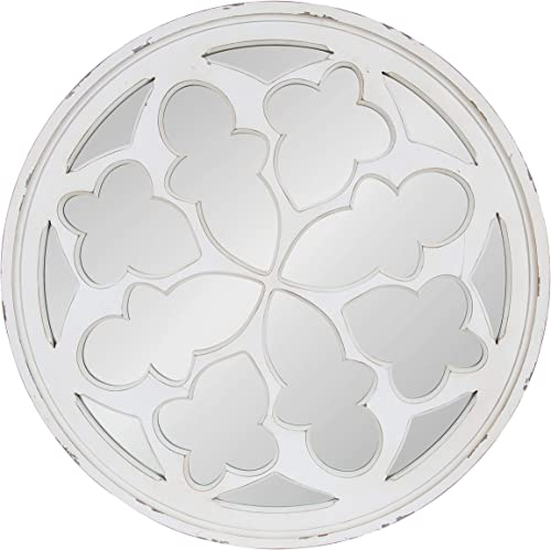Kate and Laurel Holland Overlayed Round Wooden Wall Mirror, 35.5 Diameter, White