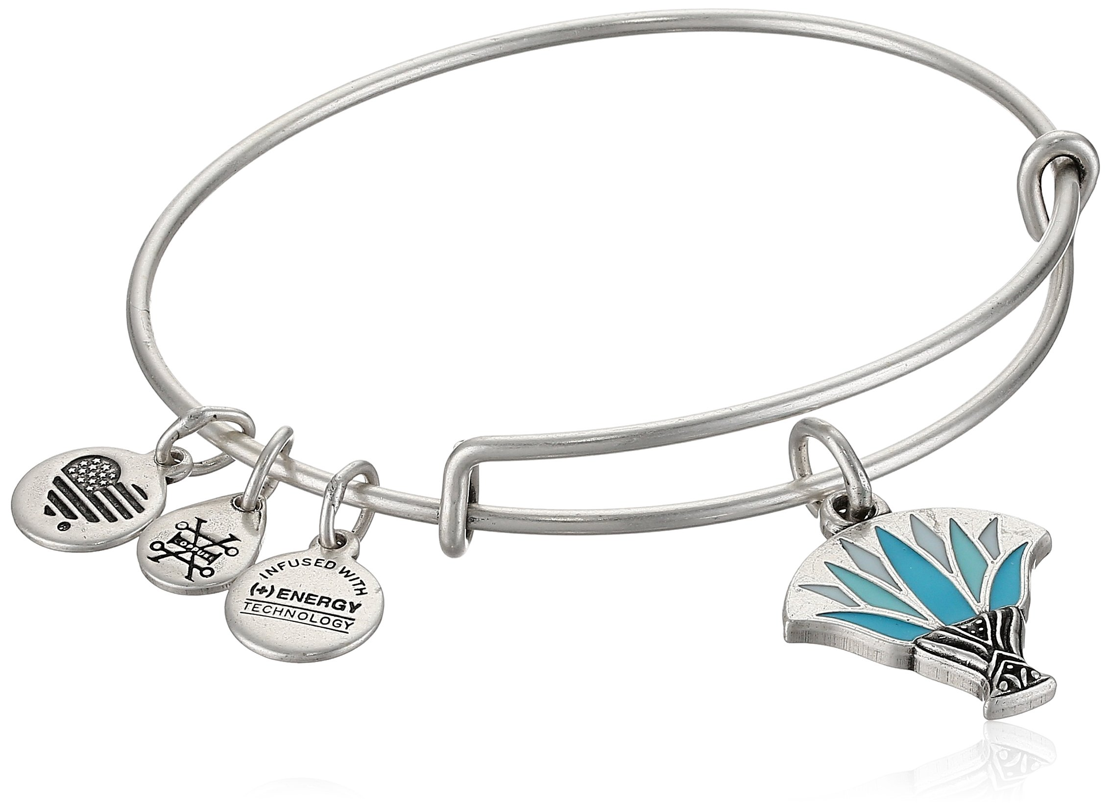 Alex and Ani Womens Blue Lotus EWB Bangle Bracelet, Rafaelian Silver, Expandable