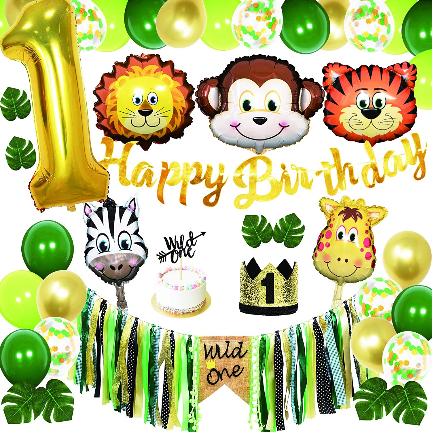 42Pcs for 1st Baby Birthday Party Decorations Set, Gender Neutral Woodland Animal Themed Party Favors, Wild One Fun Jungle Party Decor Set for Boy or Girl, with Glitter Baby Crown, Forest Creatures Safari for Baby First Birthday Celebration