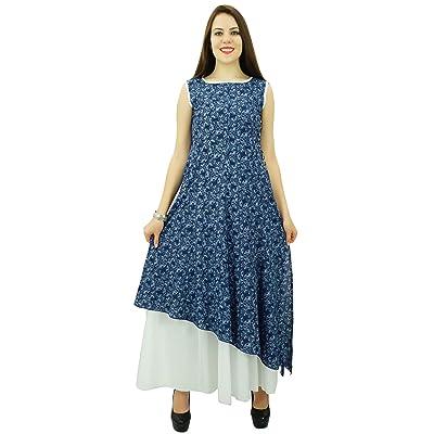 Phagun de Mujeres de Origen Sleevless Impreso Kurti algodón de la Tapa Vestido de la túnica diseñador: Ropa y accesorios
