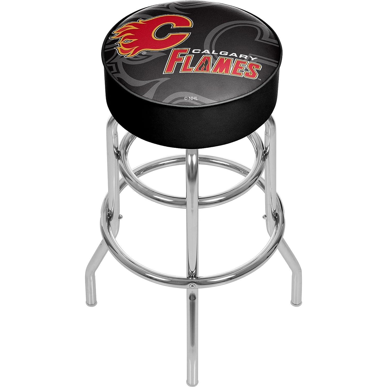 商標Gameroom nhl1000-cf-wm NHLクロムバースツールwith Swivel – 透かし – Calgary FlamesA   B0743S83S4