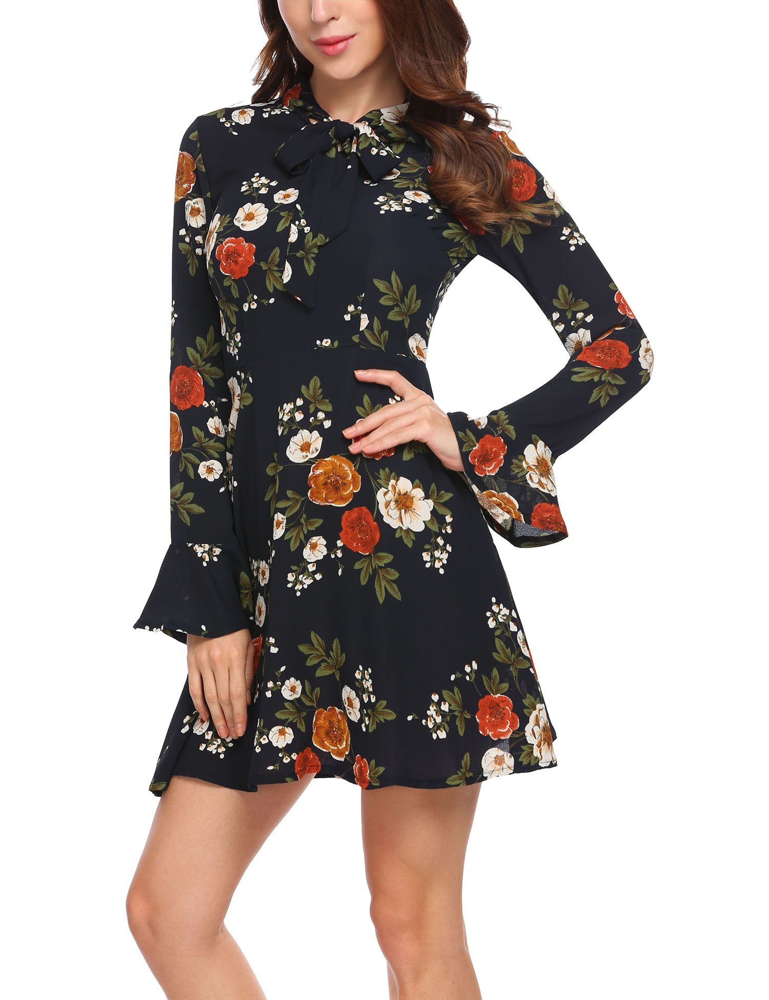 ACEVOG Women's Casual Floral Print Bell Sleeve Fit and Flare Dress,XX-Large,Floral 1 by ACEVOG (Image #1)
