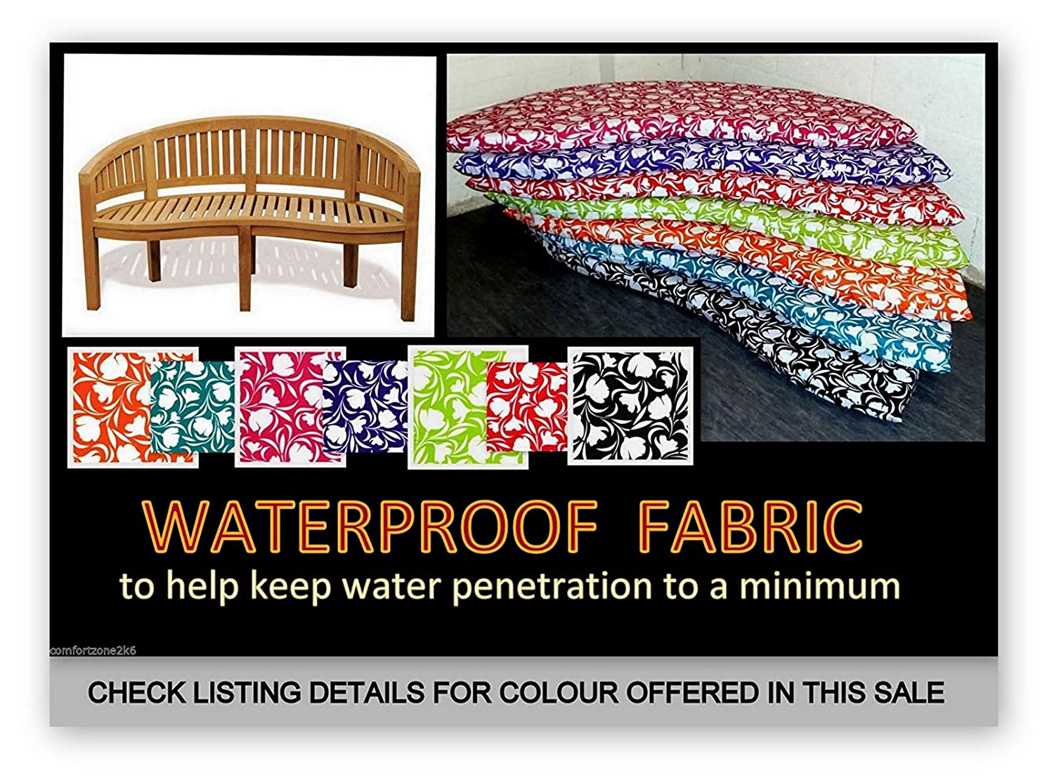 Approx seat area size is 142cms x 50cms Zippy Waterproof Fabric BANANA BENCH CUSHION For Garden Furniture TURQUOISE also fits Peanut /& Moon benches