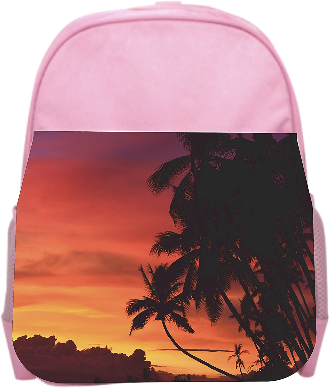 Girls Pink Preschool Toddler Childrens Backpack /& Lunch Box Set Palm Tree Oasis