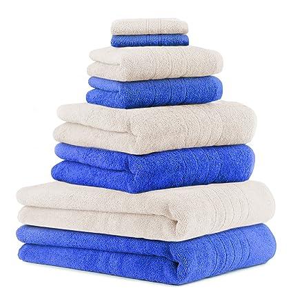 BETZ Juego de 8 piezas de toallas 100% algodón 2 toallas de baño 2 toallas