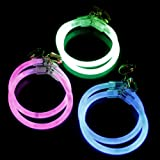 Fun Central G712, 6 Pcs, 2.5 Inches Assorted Glow Earrings, Glow In The Dark Earrings, Glow In The Dark Earrings Accessories