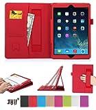 iPad Air ケース,Fyy ハンドメイド 全面保護型 iPad Air用スマートケース マグネット開閉式 スタンド機能付き 高級PU レザーケース カードスロット付き ・ リストバンド付 レッド