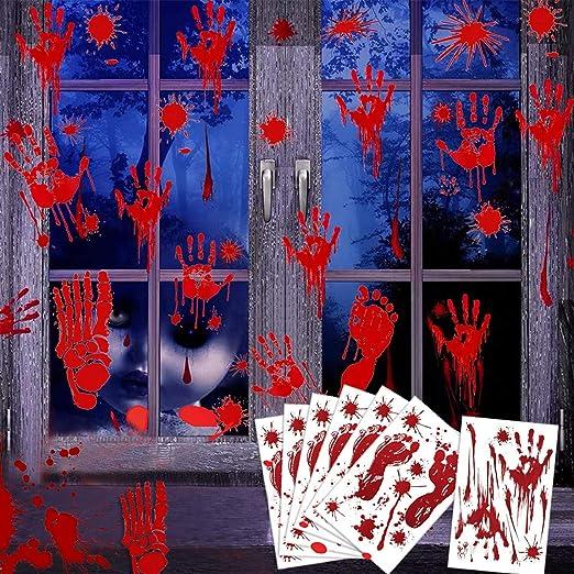 Halloween Bloody Handprint Stickers Window Stickers Bloody Handprint Footprints Decals Haunted House Party Ornaments PCS Halloween Bloody Handprint Footprints Window Clings Decorations