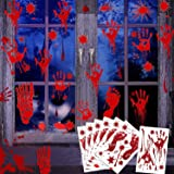 104 Pcs Scary Halloween Party Supplies Bloody Halloween Decorations Indoor, Window Decals Wall Sticker Floor Clings…