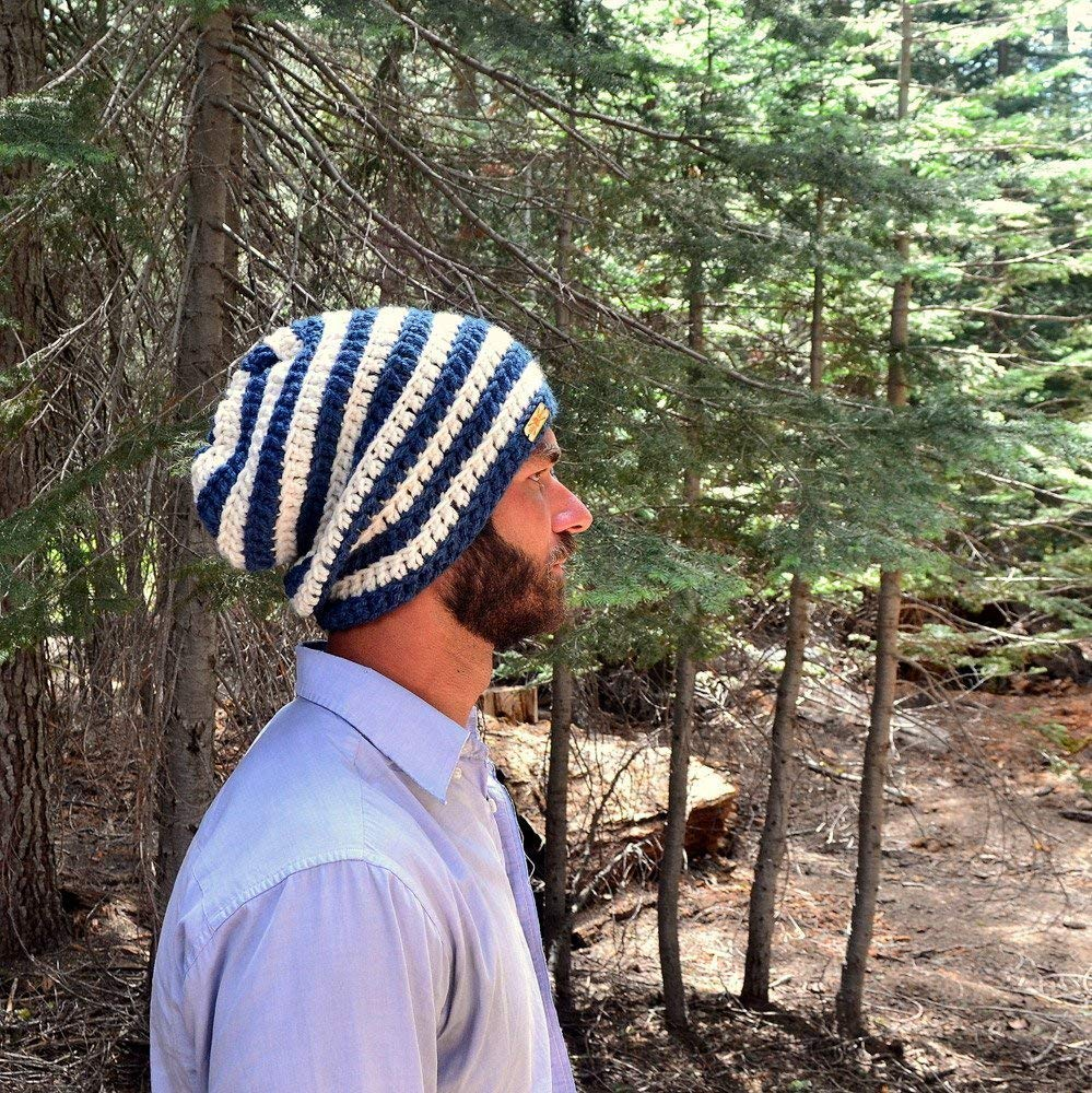 Hand Crochet Striped Slouchy Snood Hat (11 Colors Available) - DeluxeAdultCostumes.com