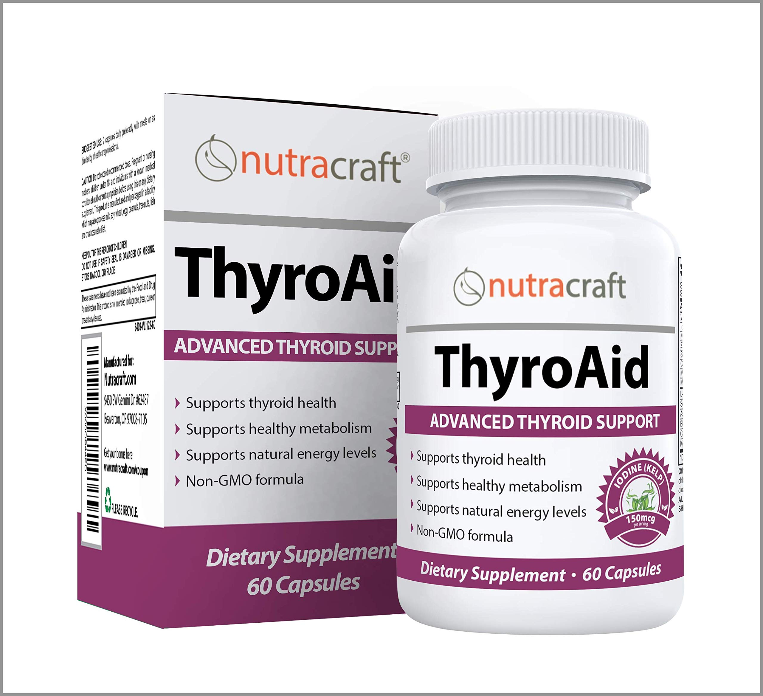 Thyroid Support Supplement - Natural Herbal Thyroid Formula with Iodine (Kelp), Ashwagandha (Withania) & L-Tyrosine to Support a Healthy Metabolism, Reduce Fatigue & Promote Weight Loss - 60 Capsules by Nutracraft