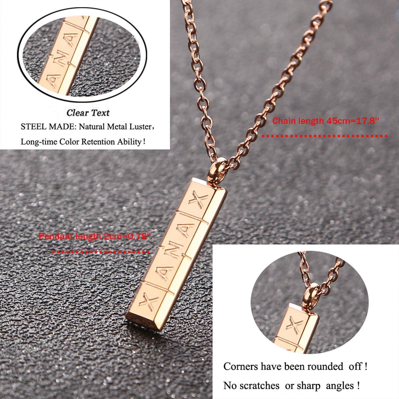 Silver Gold Tone Capsule Pendant Address Name ID Tel Locket Box Chain Necklace
