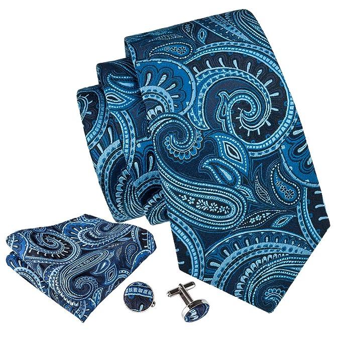Barry.Wang Pañuelo de bolsillo de corbata de seda azul para ...