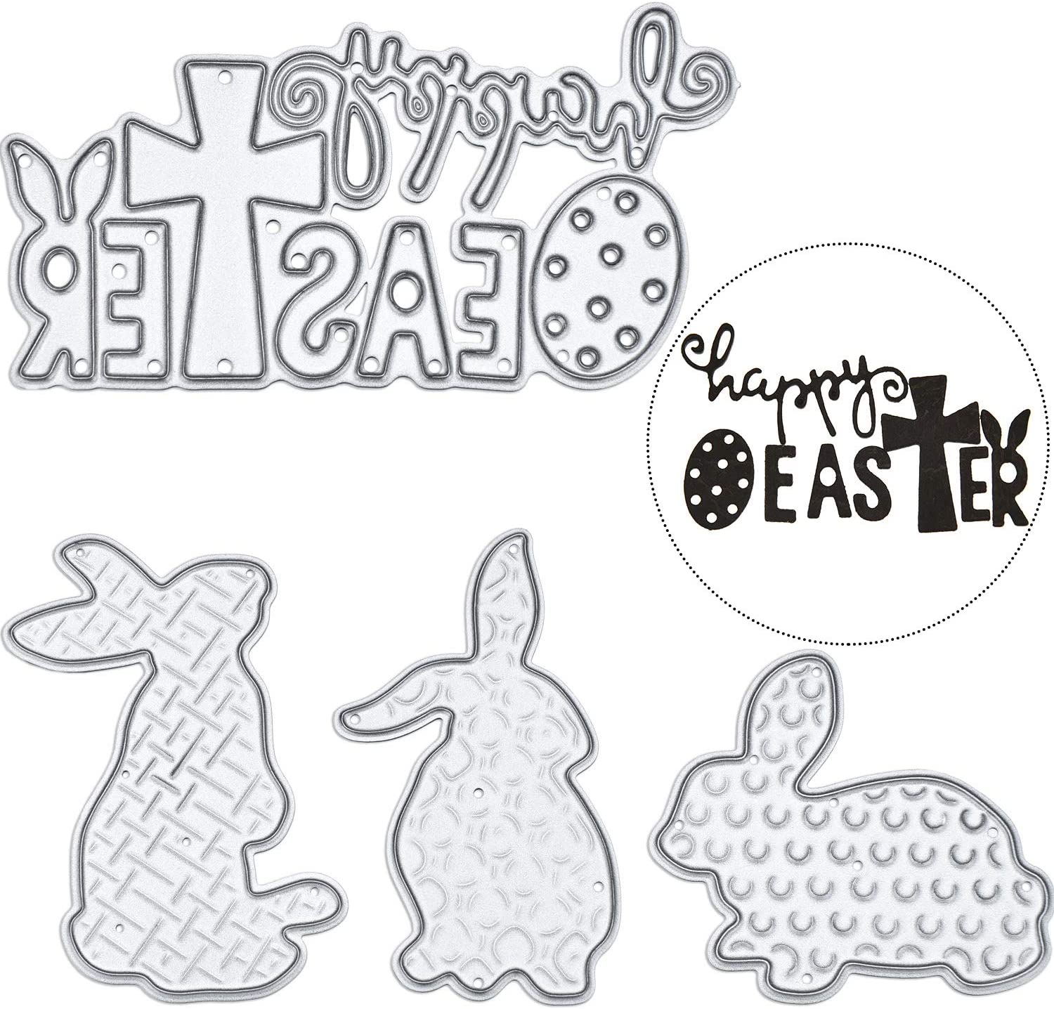 Set 2 4 Pieces Totally Pangda Happy Easter Letter Cutting Dies and Bunny Rabbit Metal Stencil Template for DIY Scrapbook Album Paper Card Embossing