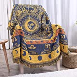 """Erke 50"""" X 70"""" Double Sided Cotton Woven Couch Throw Blanket Featuring Decorative Boho Tassels - Zodiac Constellations, Yello"""