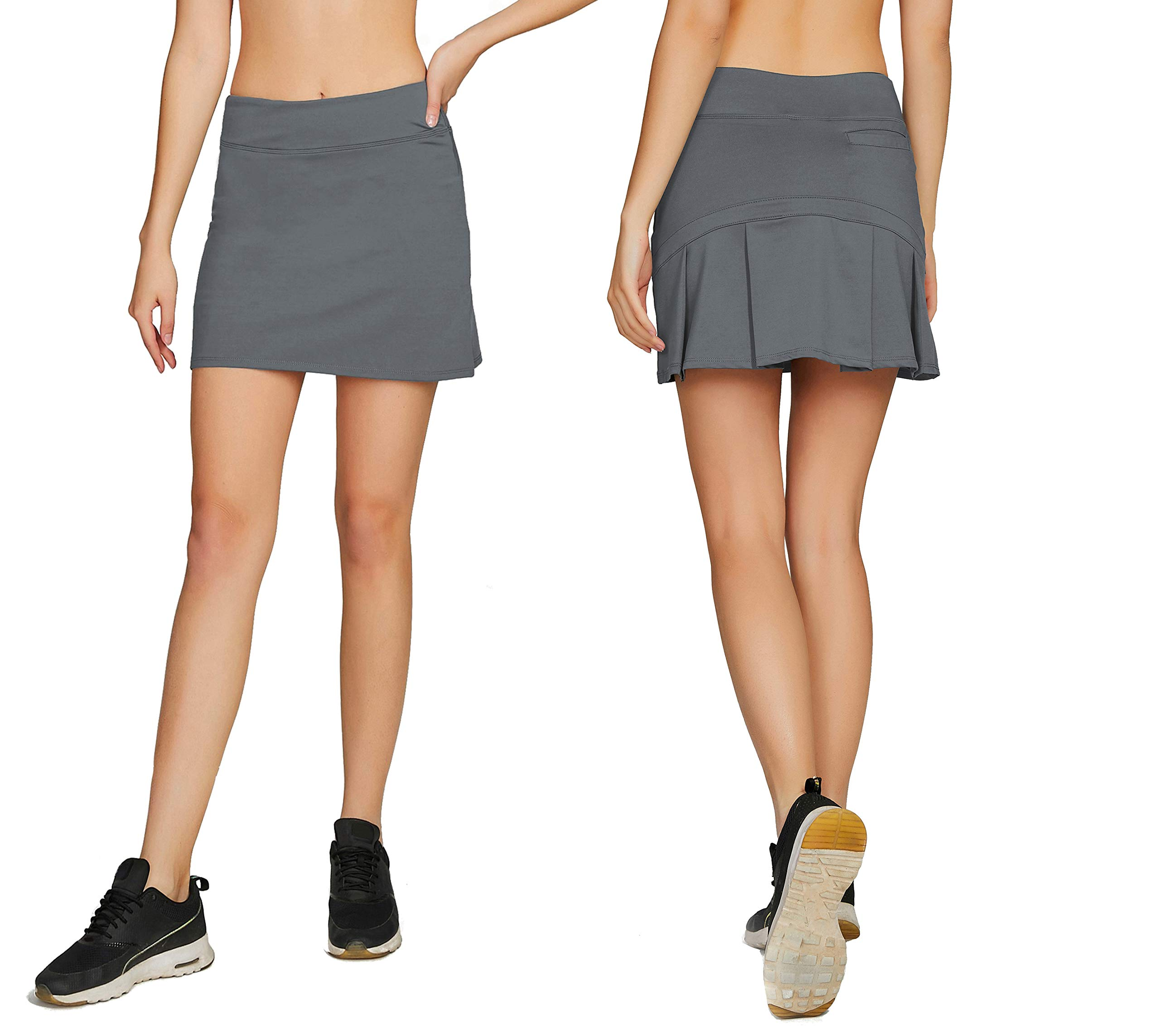Cityoung Women's Casual Pleated Golf Skirt with Underneath Shorts Running Skorts l grey1