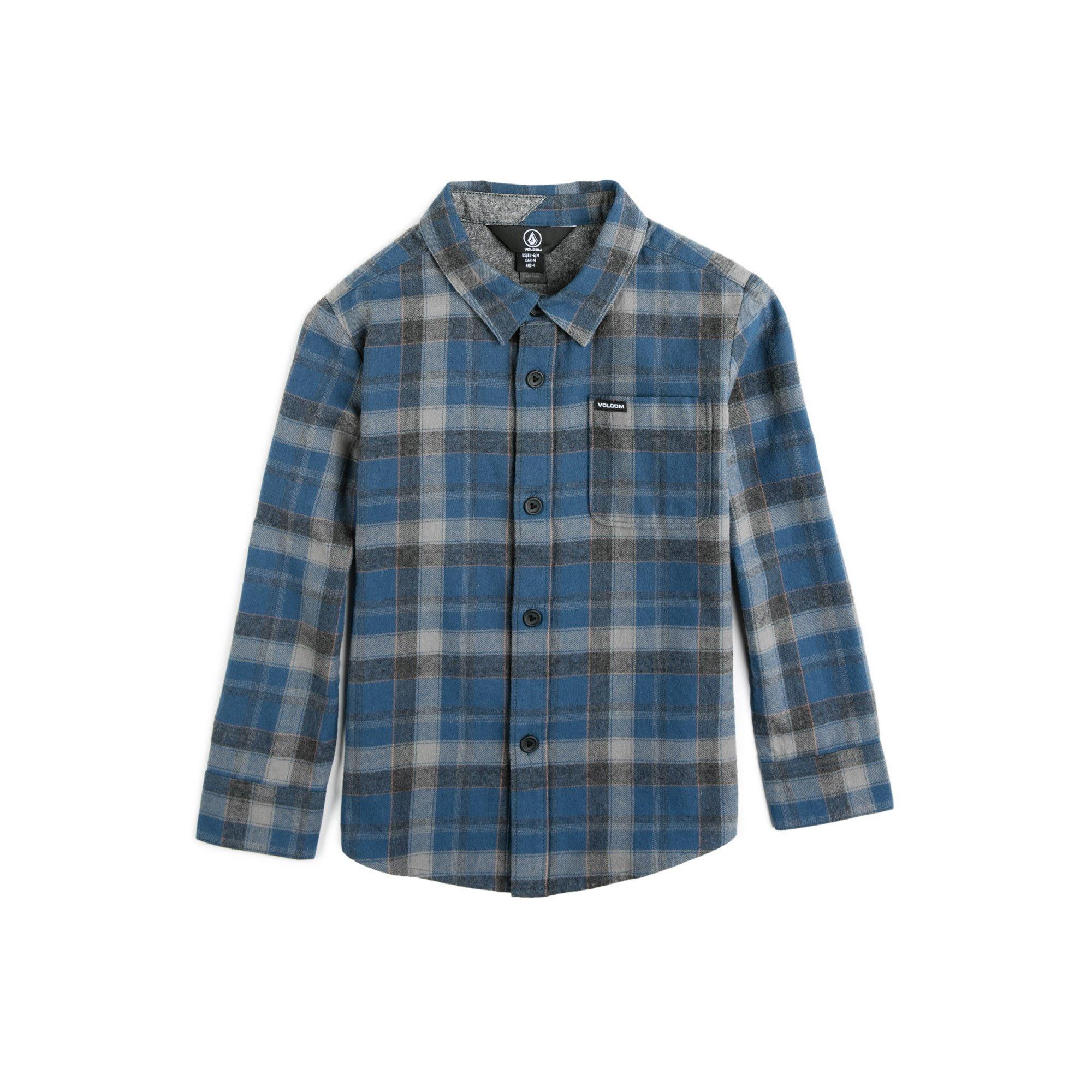 Volcom Little Boys' Caden Long Sleeve Flannel Shirt, Smokey Blue 3T