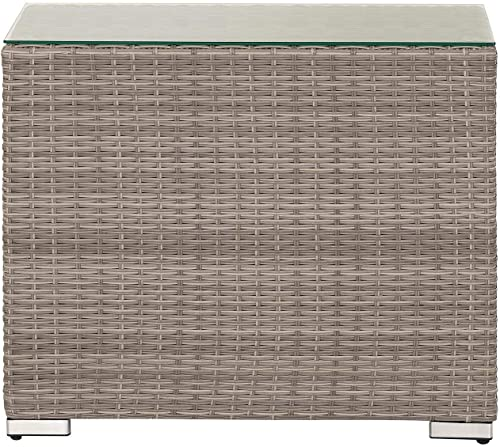 StellaHome Rattan Outdoor Furniture No Assembly Aluminum Grey Wicker High Side Table Tempered Glass