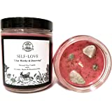 Self Love Affirmation Candle: 8 oz Natural Soy with Pink Thulite Crystals,Herbs & Essential Oils for Acceptance, Self-Worth,