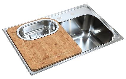 Lavello da cucina, da incasso, in acciaio inox, con sgocciolatoio ...