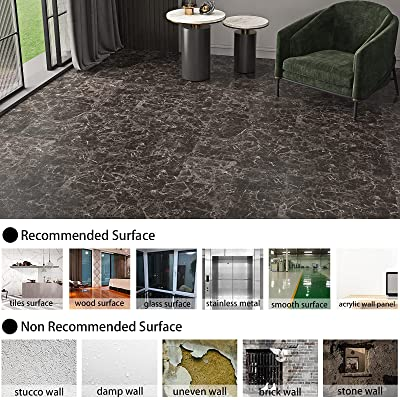 Buy Westick 12 X 12 Home Decor Marble Light Black Vinyl Flooring Stickers Waterproof Bathroom Tile Self Adhesive Anti Friction Non Slip Kitchen Backsplash Tiles Stickers Easy To Apply Wall Decals 10 Pcs Online