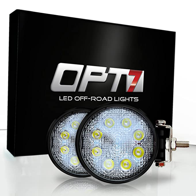 81KGWcOmHYL._SX681_ amazon com opt7 24w round off road led spot lights [2 pack w opt7 off road light bar wiring harness kit at readyjetset.co