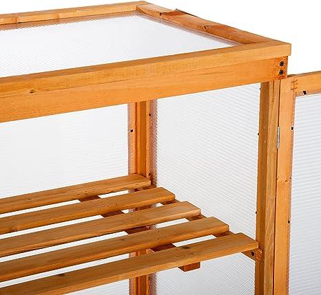 Outsunny 3 estantes de madera para almacenamiento de plantas de flor. Invernadero de policarbonato, al aire libre.: Amazon.es: Jardín
