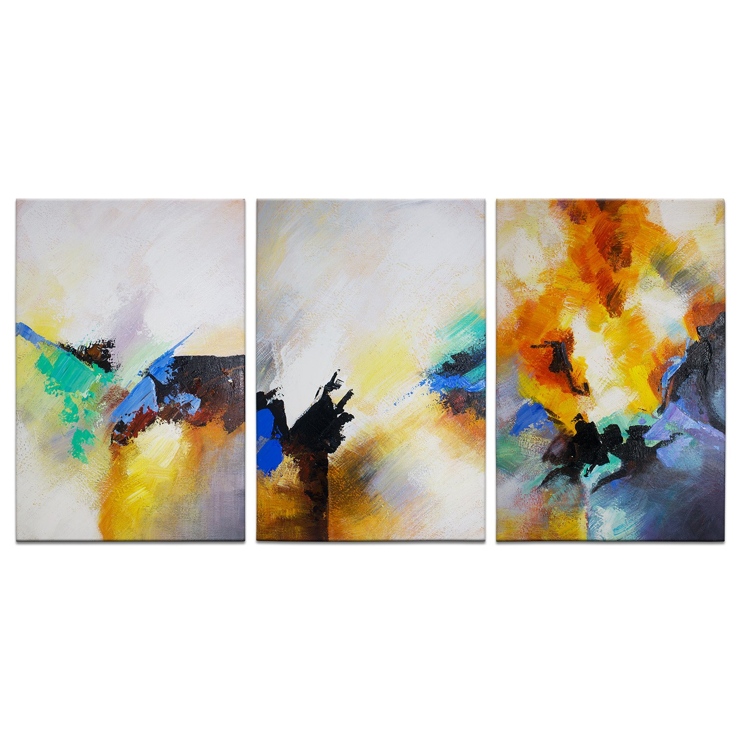 IARTS Abstract Wall Art for Home by Handmade Contemporary Oil Paintings for Living Room Decoration with Frame and Ready to Hang, 24 X 48 Inches, Set of 3 for Multiple Places