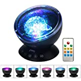Umiwe Remote Control Ocean Wave Projector Night Light Lamp with Built-in Music Player [12 LED Beads, 7 Colorful Light Modes] for Kids Adults Bedroom Living Room - Newest Generation