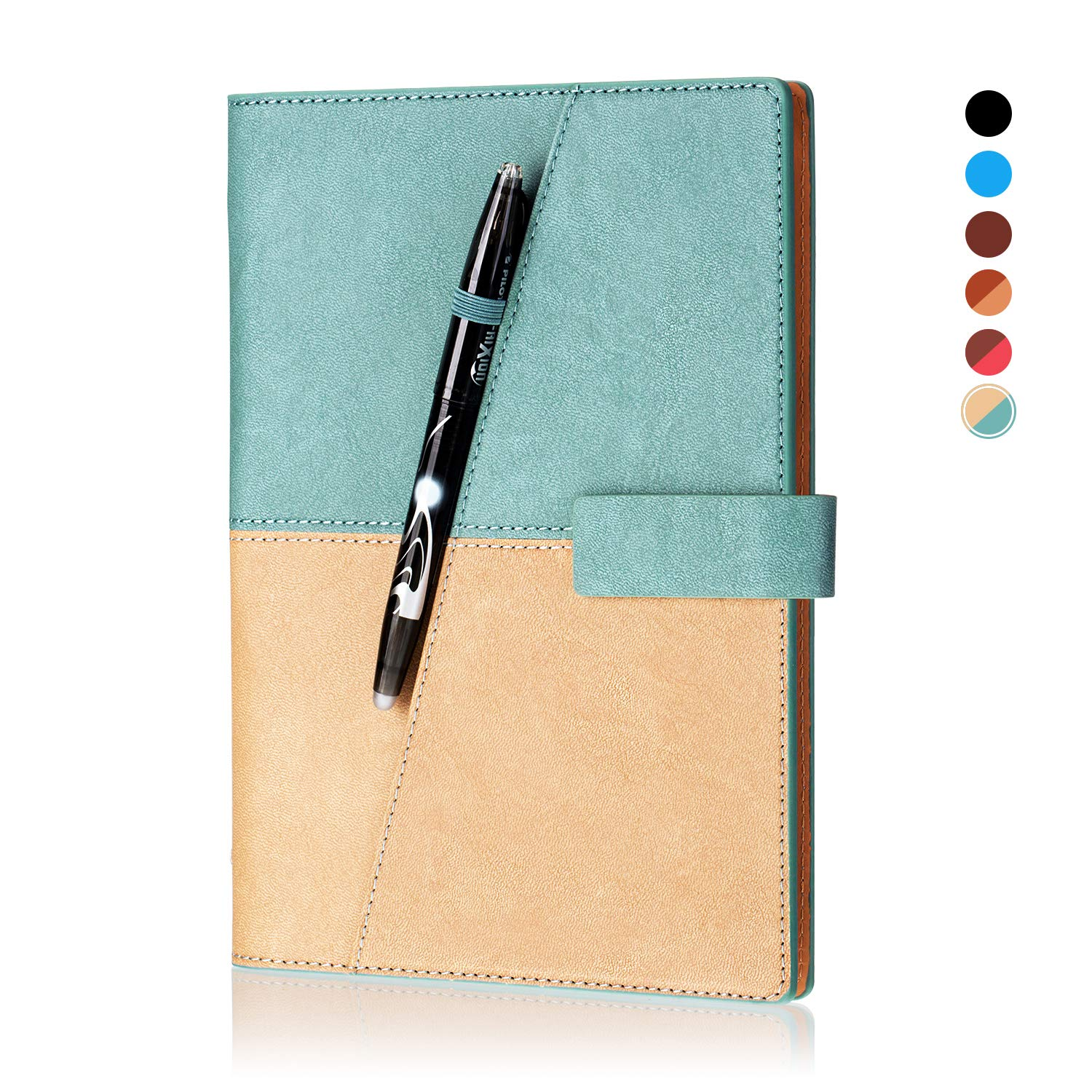 KYSTORE A5 Reusable Smart Erasable Leather Notebook, Notebooks and Journals Hardcover Writing Note Book Executive Notebook Heat Erase Paper Wide Ruled Blank 108 Pages with Erasable Pen [Light Blue] by KYSTORE