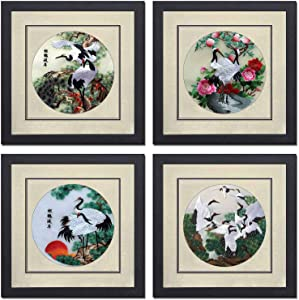 Silk Art 100% Handmade Embroidery Mixed Group Cranes & Pipe Tree Framed Landscape Painting Gift Oriental Asian Wall Art Decor Picture Gallery 31011WF & 31012WF & 31013WF & 31014WF