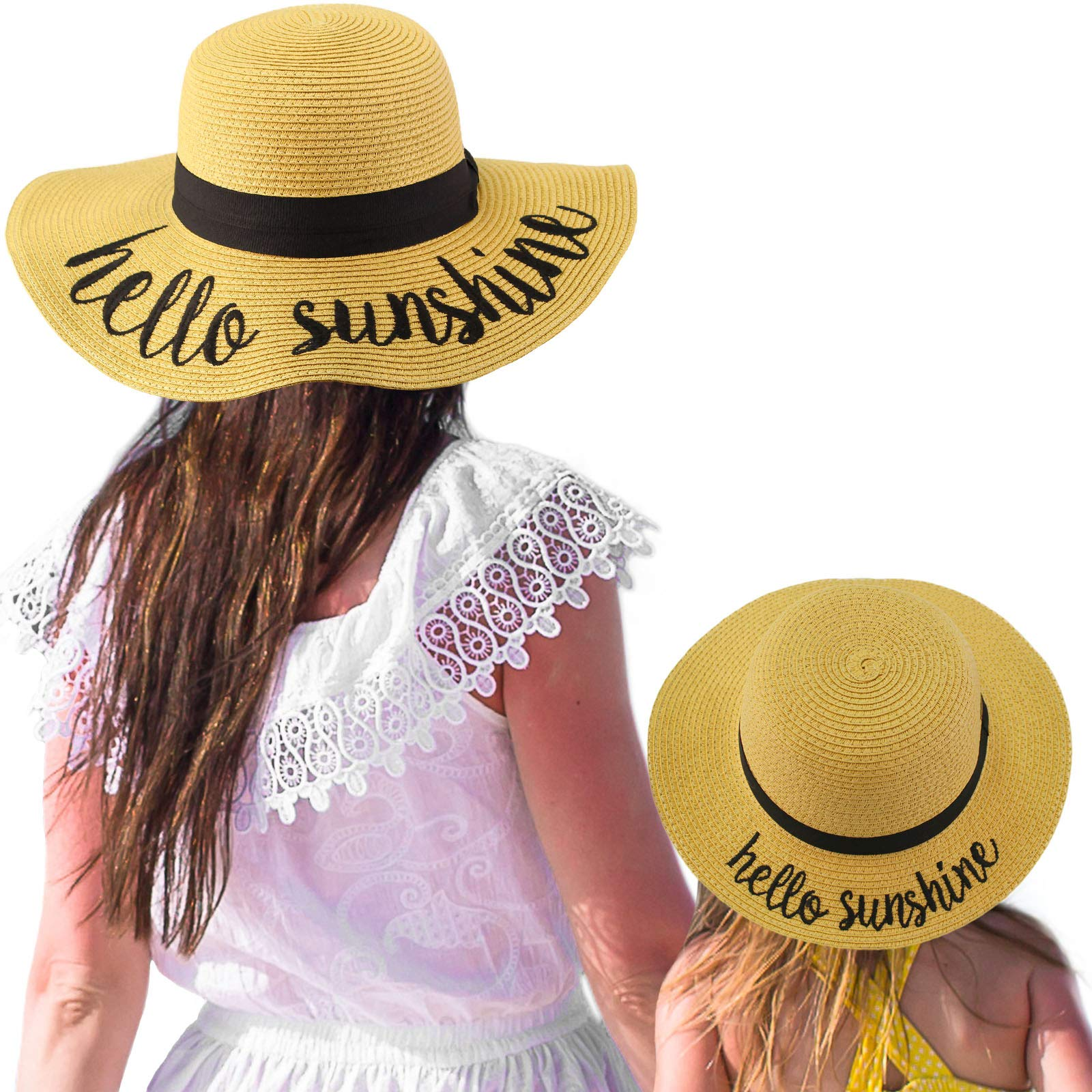 C.C Womens Mommy and Me Girls Sayings Summer Beach Pool Floppy Dress Sun Hat Natural (Hello Sunshine)