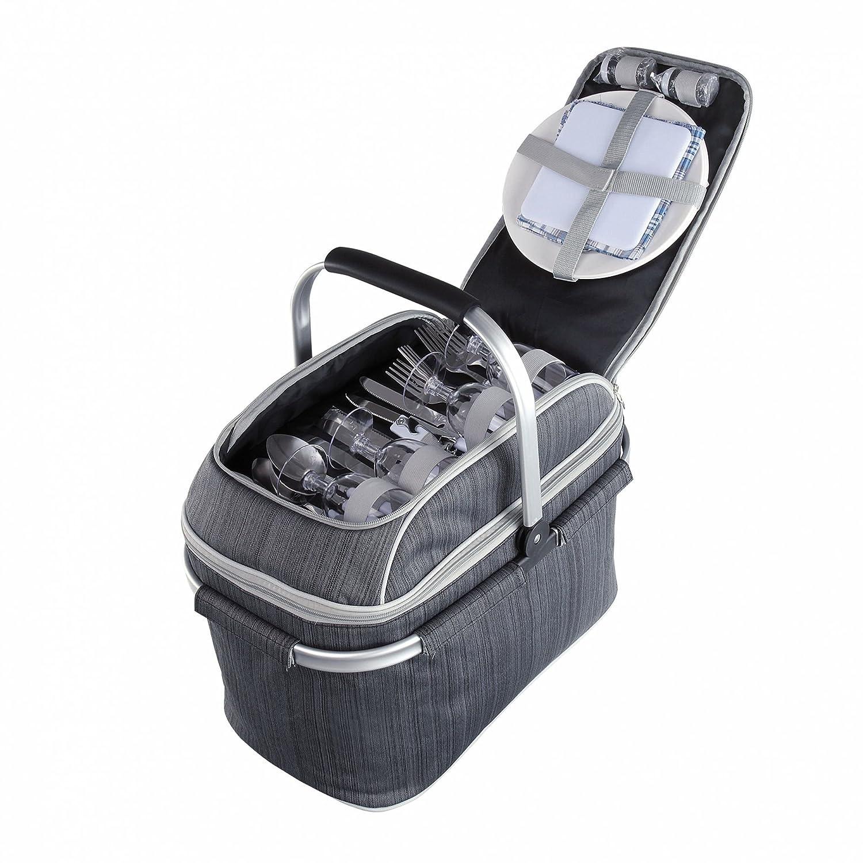 Picknickkorb für 4Personen, Grau