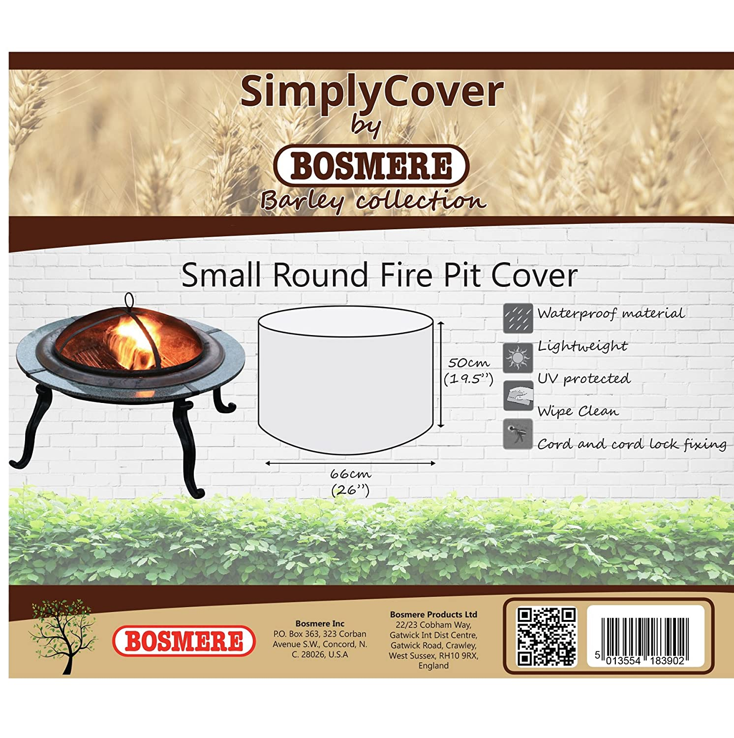 Bosmere R560 Simply Cover Barley (Beige) Small Round Fire Pit Cover BOSMERE PRODUCTS LIMITED