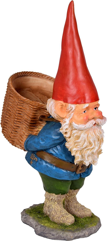 Enano de jardín Enano gnomo de jardín Figura coleccionable con cesta en la espalda, pintado a mano 40 cm: Amazon.es: Jardín