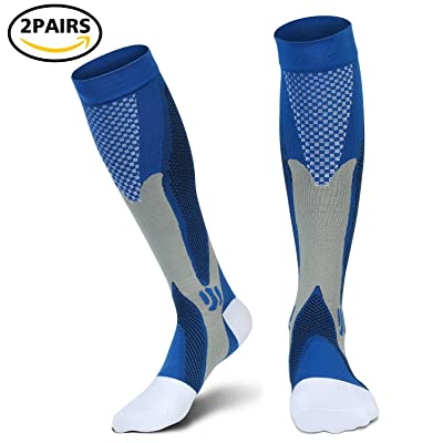 Compression Socks Pack of 2 For Women & Men - Best For Running, Pregnancy, Travel, Nursing,Better Blood Circulation 20-30mmHg (L/XL, Blue)