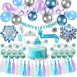 Golray Frozen Birthday Party Supplies Girls Princess Elsa Birthday Party Decorations 53 Balloons, Birthday Banner, Paper Tassel, Sash, Pin, Cupcake Cake Topper, Foil Balloons, Tattoos, Crown Wand, Frozen Party Supplies Birthday 2nd 3rd 4th 5th Decor