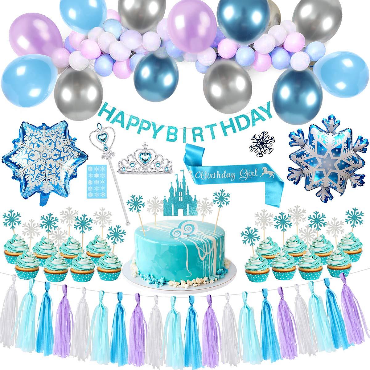 YiRAN Frozen Balloon Garland Arch Kit 16Ft Long Frozen Birthday Party Supplies