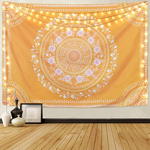 Claswcalor Sketched Medallion Tapestry, Mandala Floral Tapestries, Yellow Tapestry for Room Yellow, 70.9 x 92.5 inches