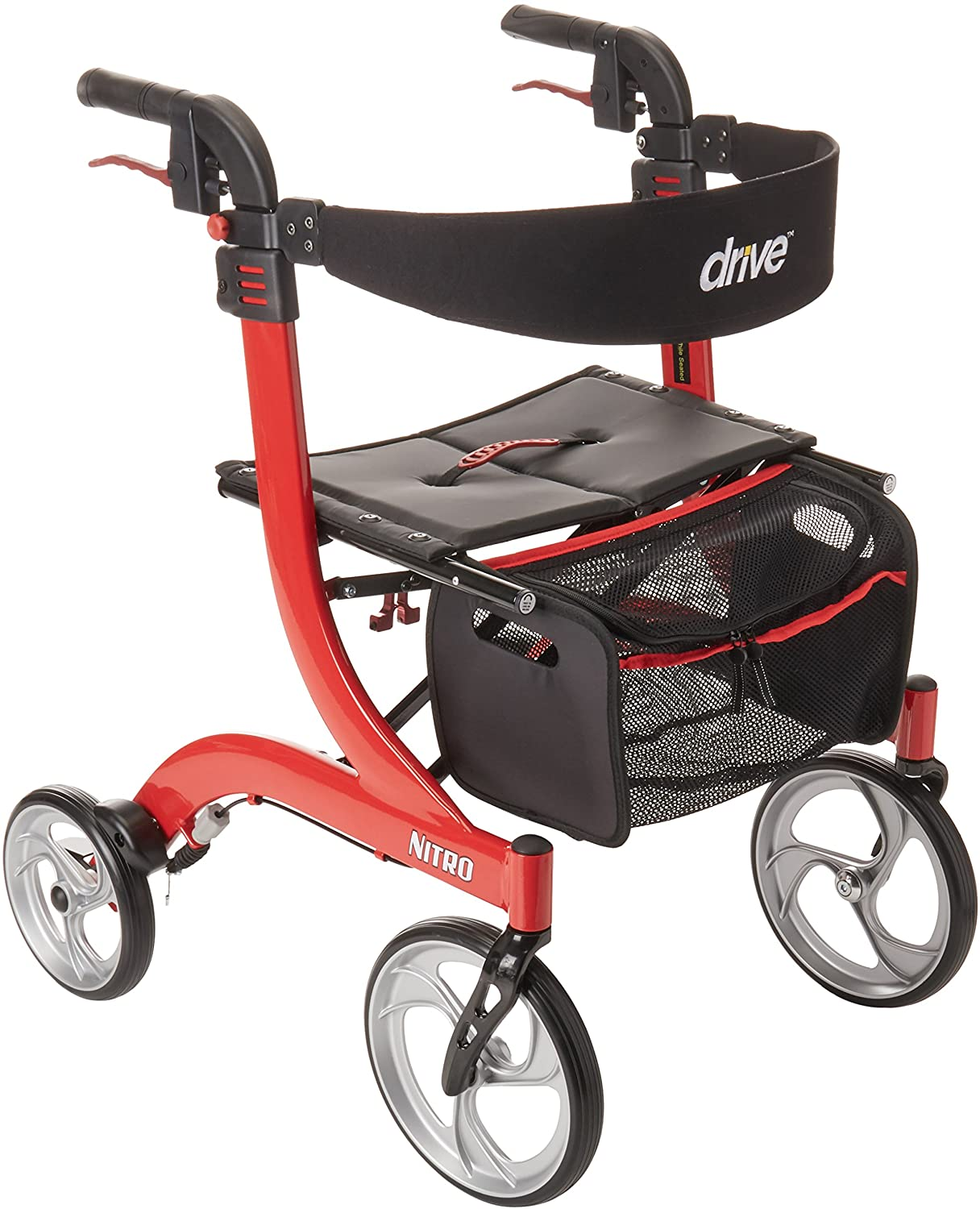 Drive Medical Nitro Euro Style Red Rollator Walker, Red 81KGbVK1knL