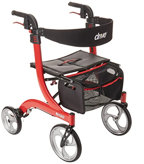 Drive Medical RTL10266-T Nitro Euro Style Walker Rollator, Tall, Red by Drive Medical