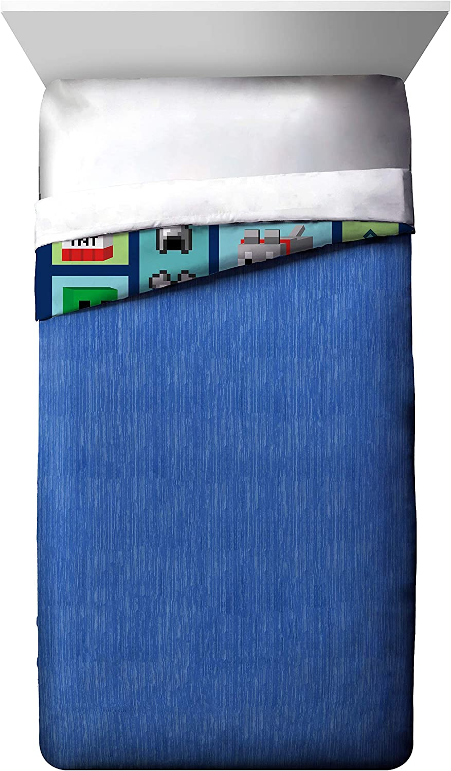 Jay Franco Minecraft Good Day Twin//Full Cooling Comforter Fade Resistant Polyester Microfiber Fill Super Soft Kids Bedding Features Creeper Official Minecraft Product