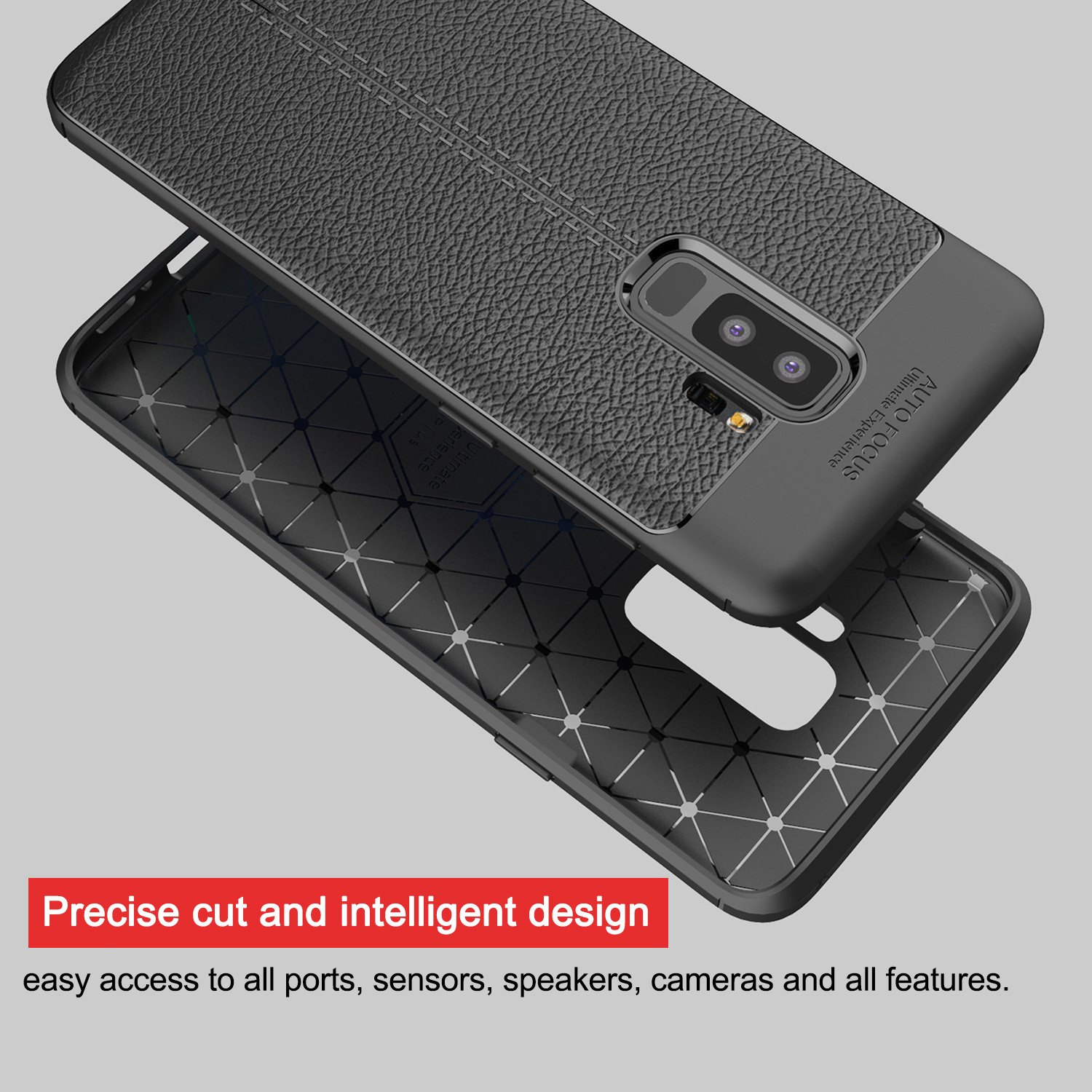 Samsung Galaxy S9 Plus Soft Case, PRODELI Ultra Slim Flexible Leather TPU Protective Case Cover Shockproof,Anti-Scratch,Easy Grip,Full Protective Case for Galaxy S9+(Black)