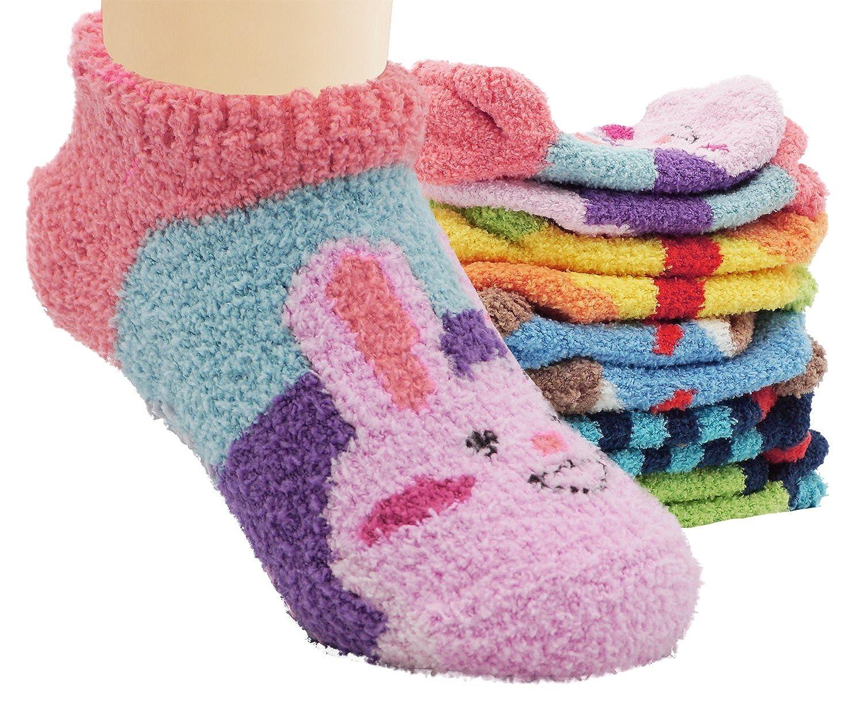 5 Pack Infants Baby Fuzzy Thick Floor Socks Anti Slip Skid Cartoon Animal Socks