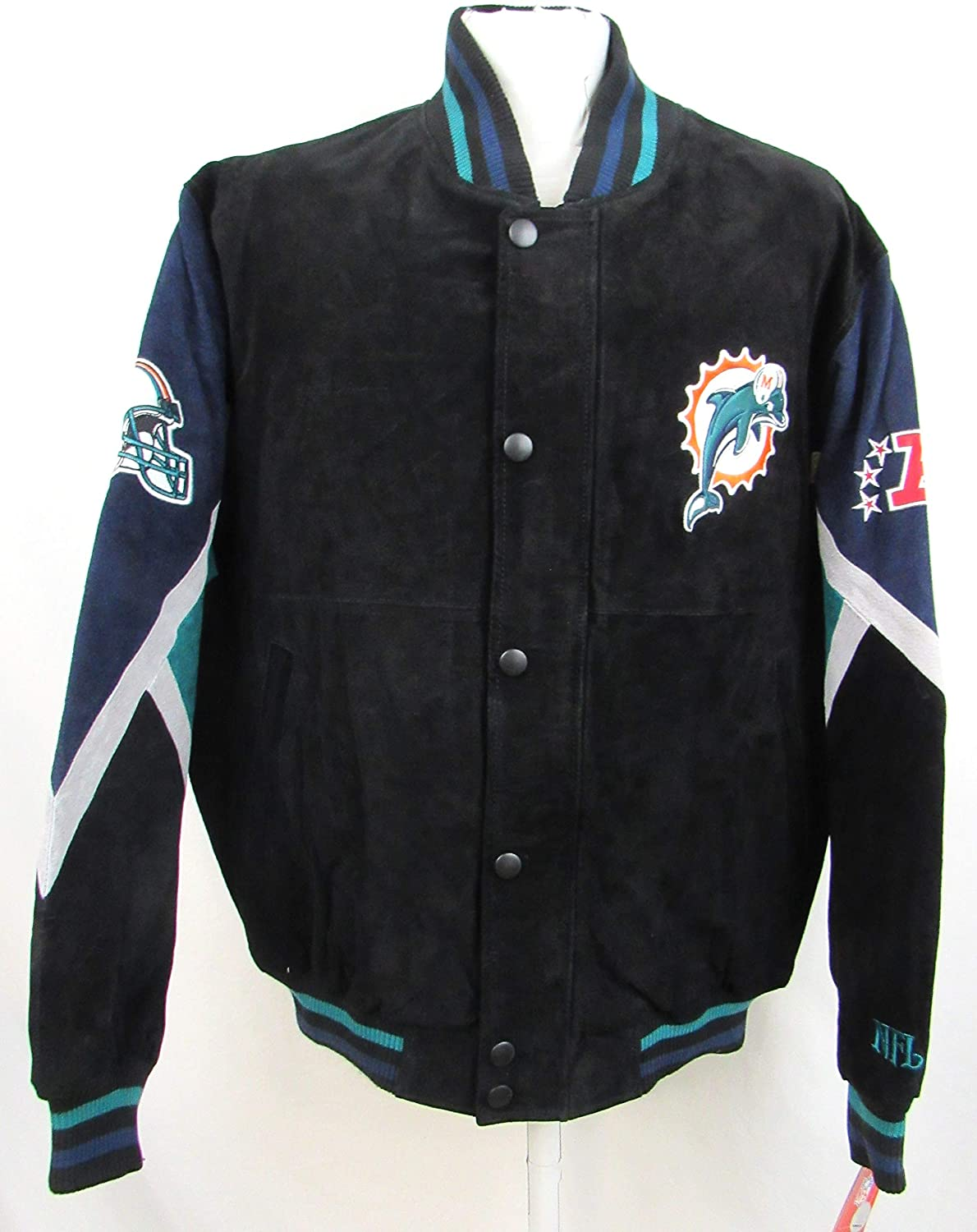 96cdabac G-III Sports Miami Dolphins Mens Large Full Zip Embroidered Suede/Soft  Leather Jacket ADOL 1 L