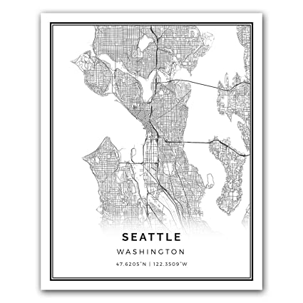 Amazon Com Seattle Map Poster Print Modern Black And White Wall